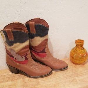 Aldo Vintage Heel Boots, Genuine Leather w/ design